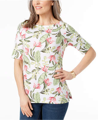 Karen Scott Petite Cotton Boat-Neck Top, Created for Macy's