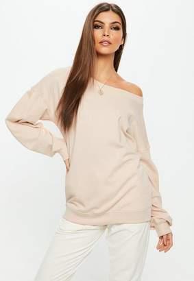 Missguided Nude Off Shoulder Sweatshirt
