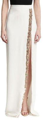 Monique Lhuillier Beaded Front-Slit Maxi Skirt, White $1,825 thestylecure.com