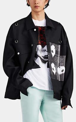 Raf Simons Men's Pierced-Face Denim Oversized Trucker Jacket - Black