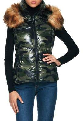 S13 Faux Fur-Trimmed Camouflage Puffer Vest