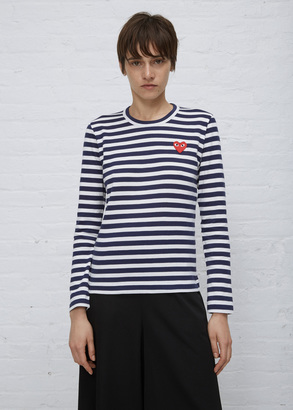 Comme des Garcons PLAY white/navy striped long sleeve t-shirt $160 thestylecure.com