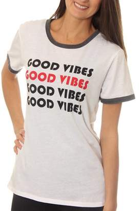 "Freeze Women's ""Good Vibes"" Contrast Ringer Graphic Tee T-Shirt"