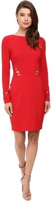 Nicole Miller Womens Lace Inset Long Sleeves Party Dress Red