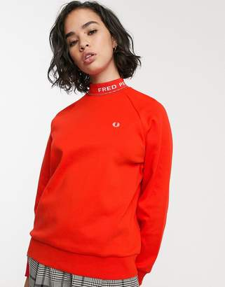 Fred Perry high neck logo stripe sweatshirt