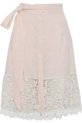 Miguelina Corded Lace-Paneled Linen-Gauze Skirt