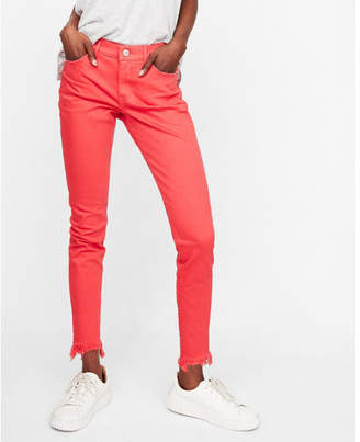 Express mid rise red raw hem ankle jean leggings