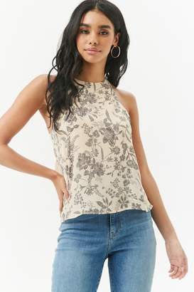 Forever 21 Floral Chiffon Halter High-Low Top