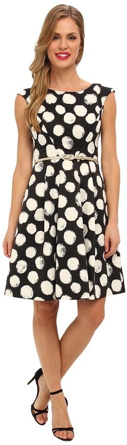 Eliza J Cap Sleeve Full Skirt with Self Belt