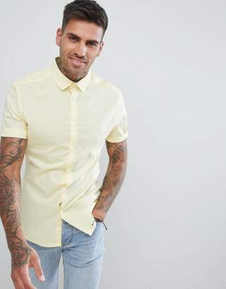Asos Design DESIGN skinny shirt in yellow with short sleeves