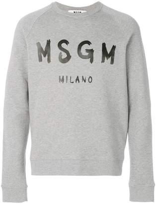 MSGM painted logo print sweatshirt