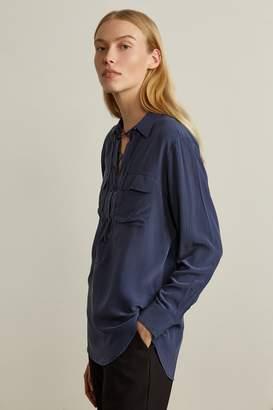 Genuine People Lace Up Long Sleeve Silk Shirt