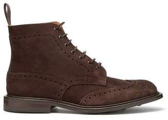 Tricker's Stow Suede Brogue Boots - Mens - Dark Brown