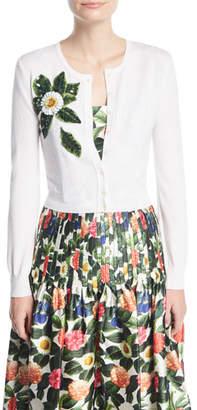 Oscar de la Renta Button-Front Wool Cardigan w/ Beaded Floral Detail