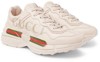 Gucci Rhyton Logo-Print Leather Sneakers - Off-white
