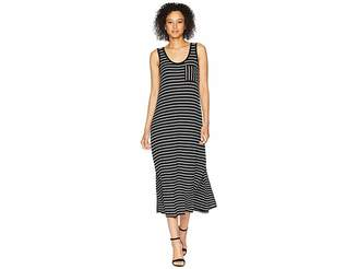 Calvin Klein Sleeveless Stripe Maxi w/ Pocket Women's Dress