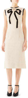 Gucci Rose-Front Bow-Neck Gauze Tweed Midi Dress