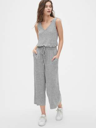 Gap Softspun V-Neck Wide-Leg Crop Jumpsuit