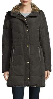 Cole Haan Faux Fur-Trimmed Quilted Coat
