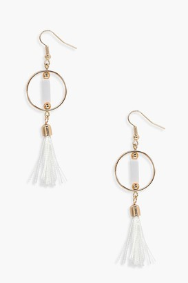 boohoo Simply Hoop Tassel Earrings