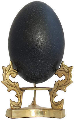 One Kings Lane Vintage Natural Emu Egg with Brass Stand
