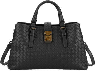 Bottega Veneta Roma Small Woven Top Handle Bag