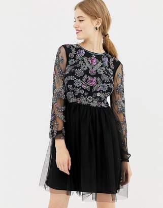 Frock and Frill long sleeve embellished skater dress with open back