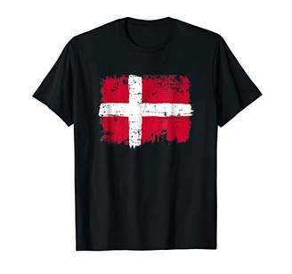Denmark Flag T Shirt Distressed Vintage