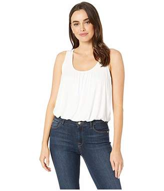 Three Dots Refined Jersey Shirred Tank Top