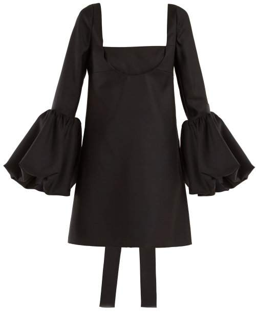 Bell-sleeve silk-crepe dress