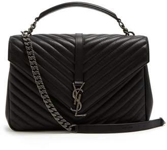 Saint Laurent College Large Quilted Leather Shoulder Bag - Womens - Black