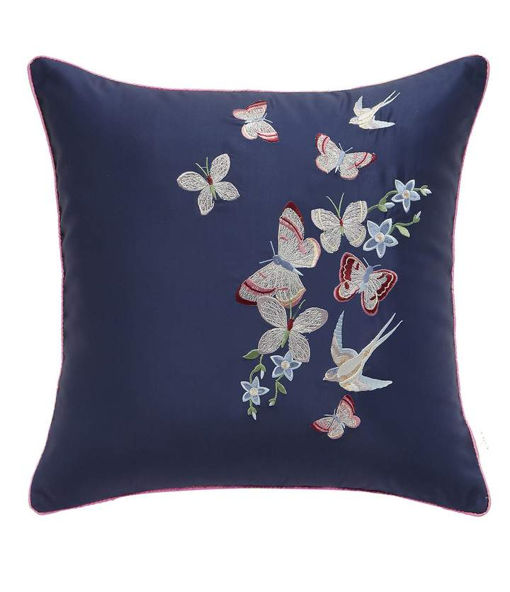 Entangled Enchantment Collection Butterfly-Embroidered Sateen Square Pillow