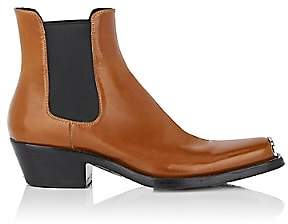 Calvin Klein Men's Spazzolato Leather Chelsea Boots-Brown