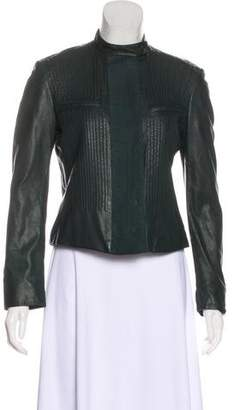 Calvin Klein Leather Ribbed Jacket