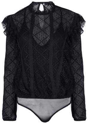 Free People Goldie Midnight Blue Lace Bodysuit