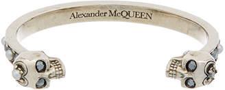 Alexander McQueen Silver-Tone Crystal Skull Brass Cuff