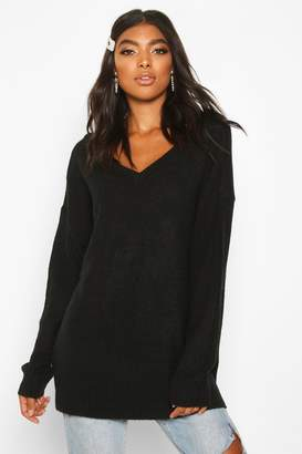 boohoo Tall Jumper With V Neck Detail Front And Back