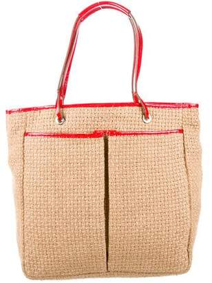Anya Hindmarch Woven Patent Leather-Trimmed Tote