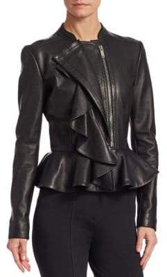 Altuzarra William Leather Ruffle Front Jacket