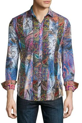 Robert Graham Little Dragon Printed Long-Sleeve Sport Shirt, Multicolor $398 thestylecure.com