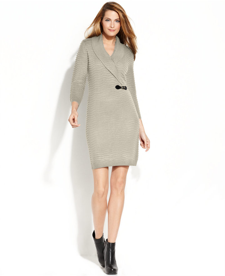 Calvin Klein Textured Knit Sweater Dress
