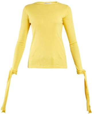 J.W.Anderson Cuff Tie Ribbed Jersey Cotton Top - Womens - Yellow