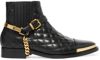 Balmain - Embellished Quilted Leather Ankle Boots - Black $1,585 thestylecure.com