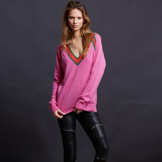 Minnie Rose - Deep V Varsity Pullover $247 thestylecure.com