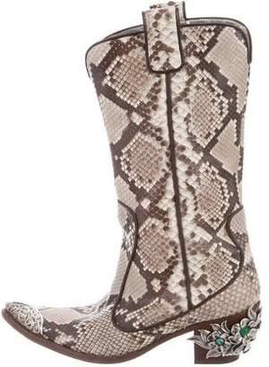 Giuseppe Zanotti Python Embellished Cowboy Boots