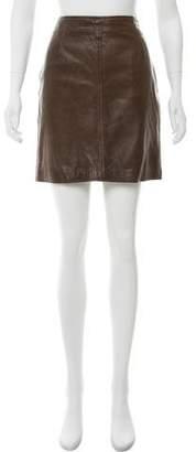 Gianni Versace Distressed Leather Mini Skirt