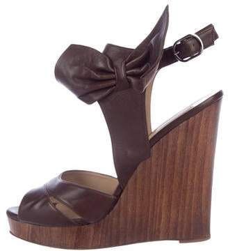 Valentino Leather Wedge Sandals