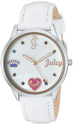 Juicy Couture Black Label Women's JC/1019MPWT Silver-Tone and White Leather Strap Watch