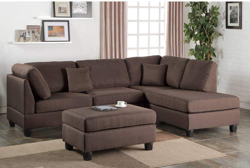 Poundex Bobkona Dervon Reversible Chaise Sectional