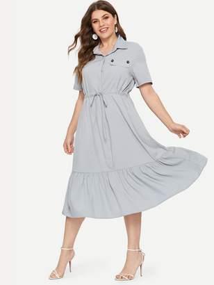 Shein Plus Ruffle Hem Drawstring Waist Shirt Dress